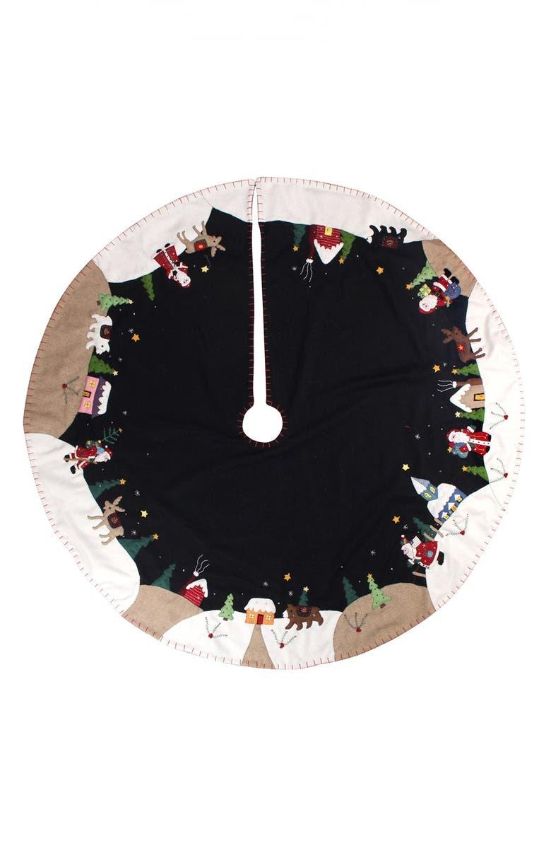 NEW WORLD ARTS Santa Village Tree Skirt, Main, color, BLACK MULTI