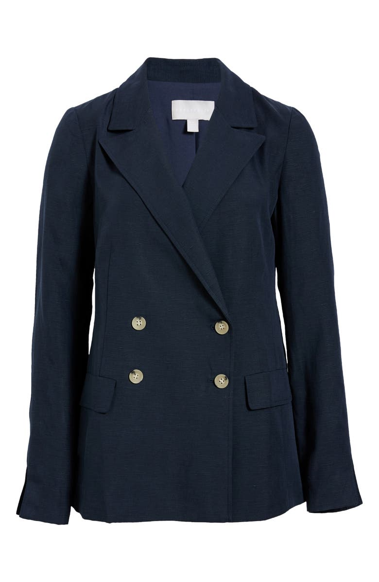 CHELSEA28 Dart Detail Double Breasted Jacket, Main, color, NAVY BLAZER