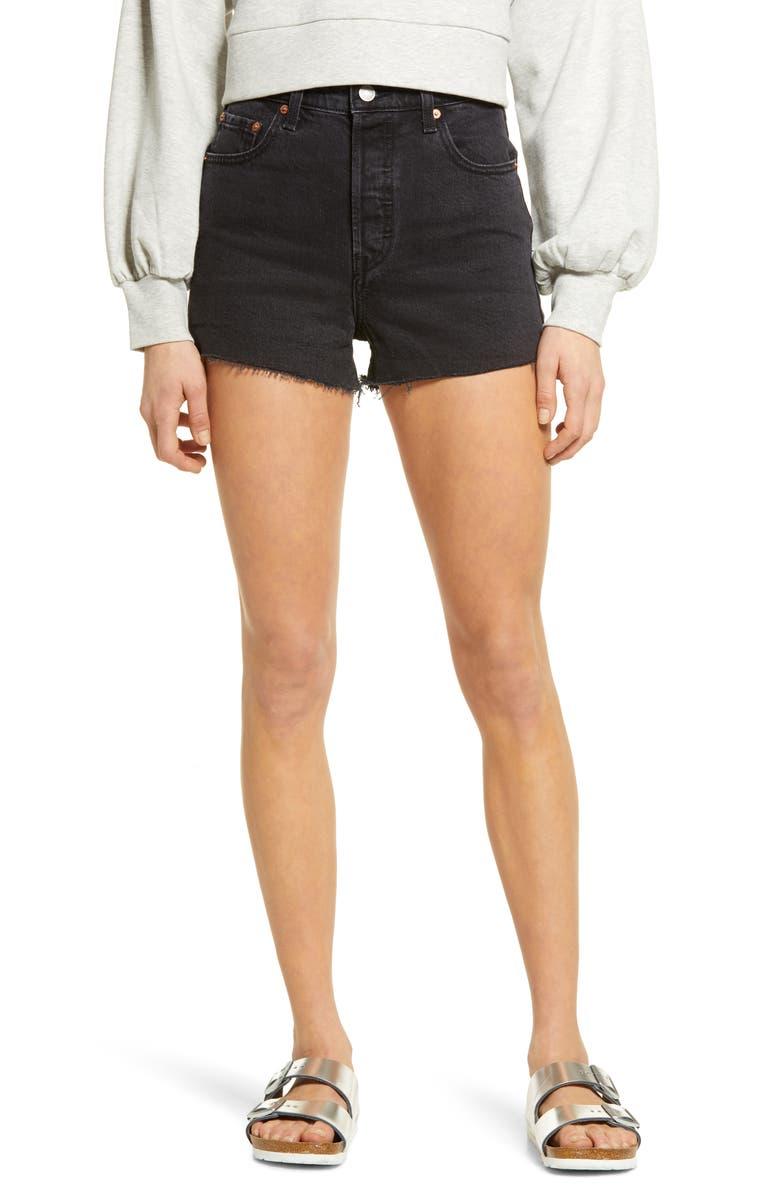 LEVI'S<SUP>®</SUP> Ribcage Denim Shorts, Main, color, BLACK LAKE