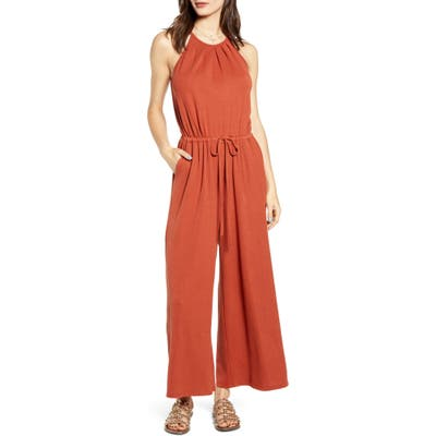 All In Favor Rib Tie Waist Jumpsuit, Red