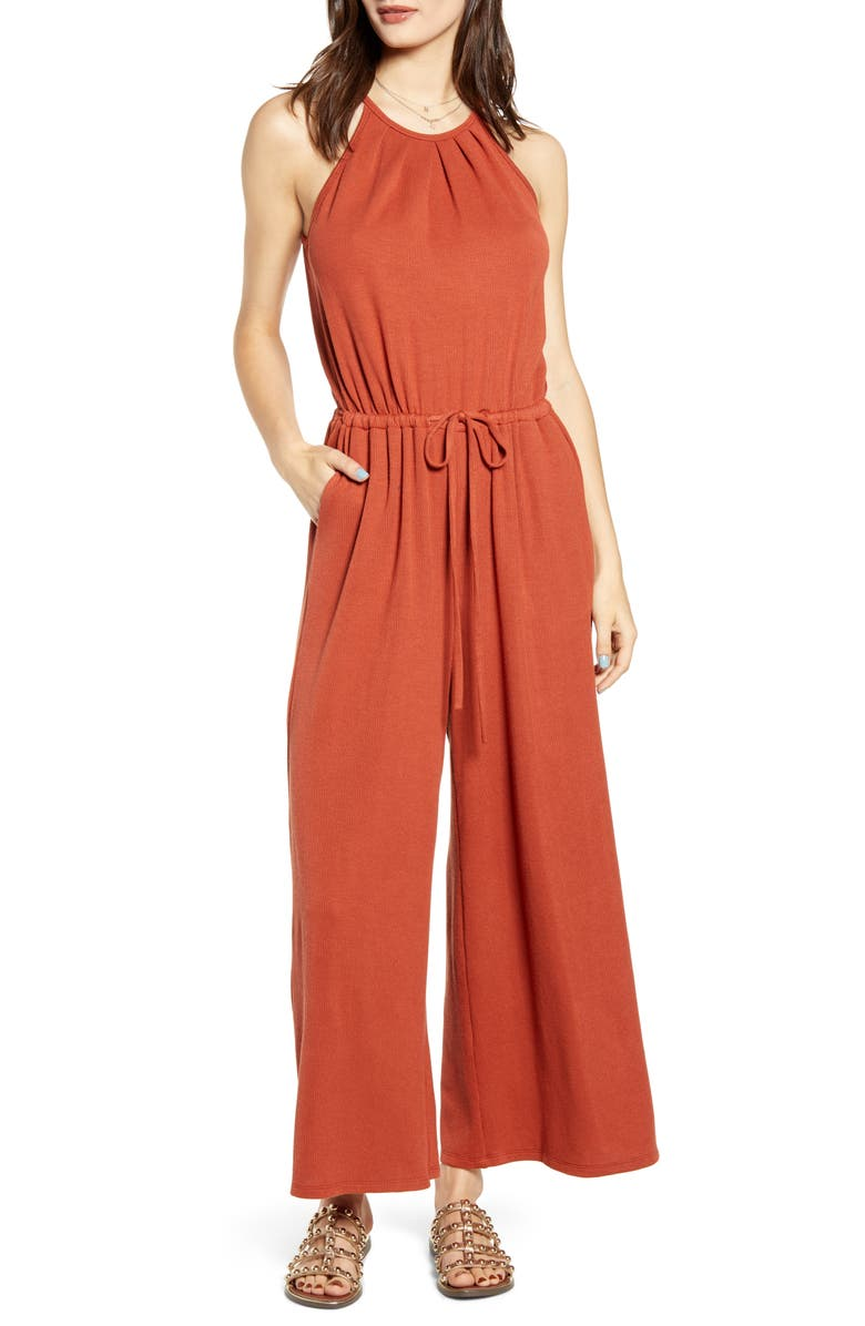 ALL IN FAVOR Rib Tie Waist Jumpsuit, Main, color, PICANTE