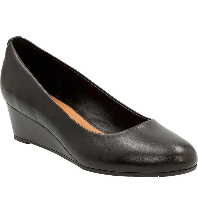 CLARKS<SUP>®</SUP> 'Vendra Bloom' Wedge Pump, Main, color, 003