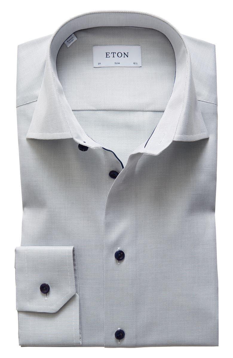 ETON Slim Fit Solid Dress Shirt, Main, color, GREEN