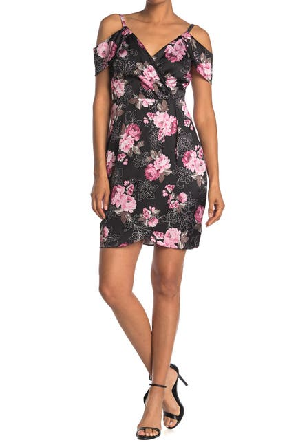 Image of GUESS Floral Faux Wrap Dress