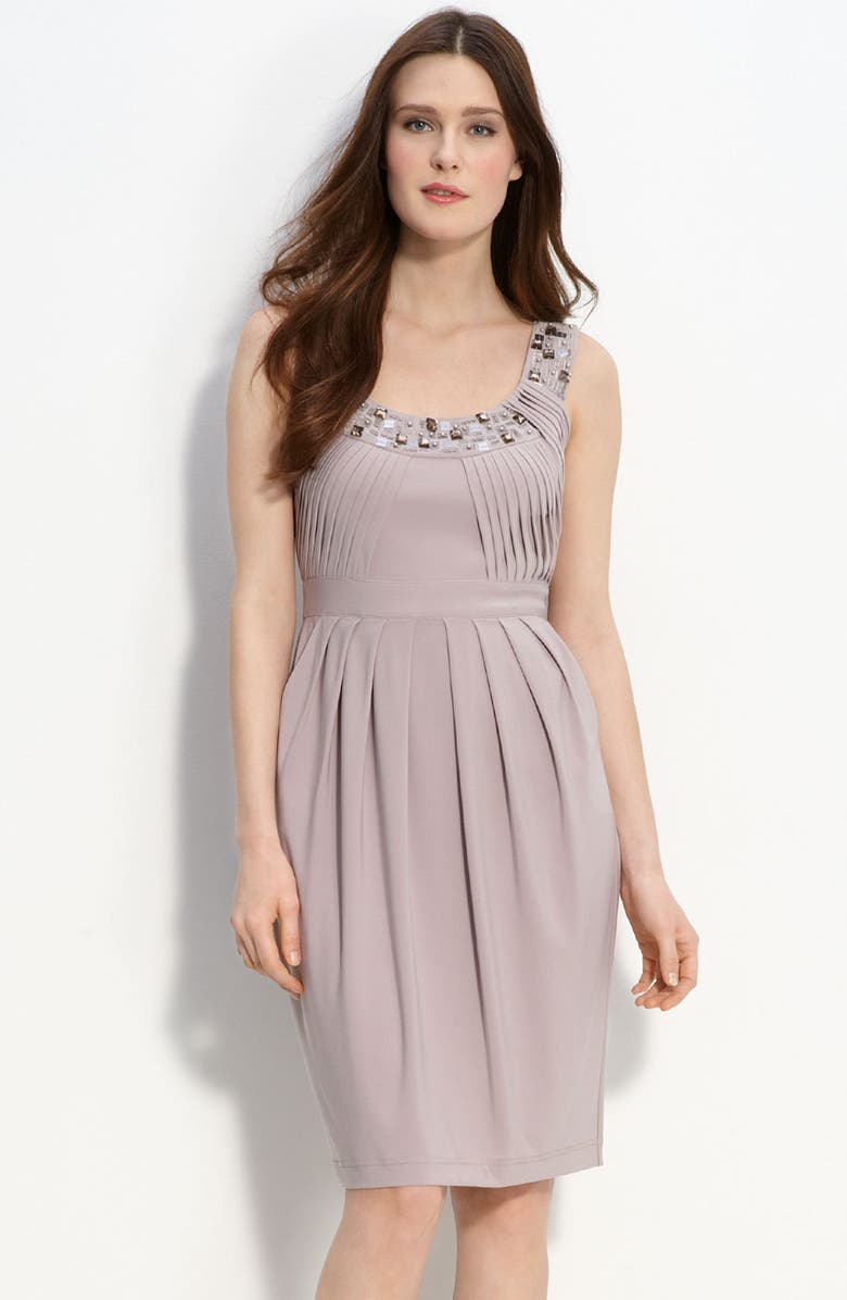 ADRIANNA PAPELL Beaded & Pleated Jersey Dress, Main, color, 500