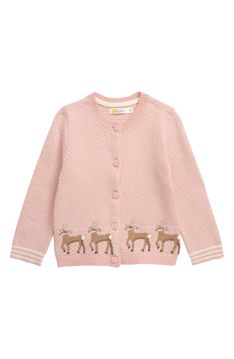 MINI BODEN Festive Deer Cardigan, Main, color, CHALKY PINK
