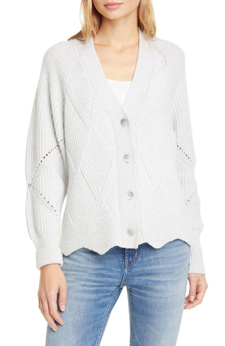 REBECCA TAYLOR Basket Weave Ribbed Pointelle Knit Cardigan, Main, color, HEATHER GREY