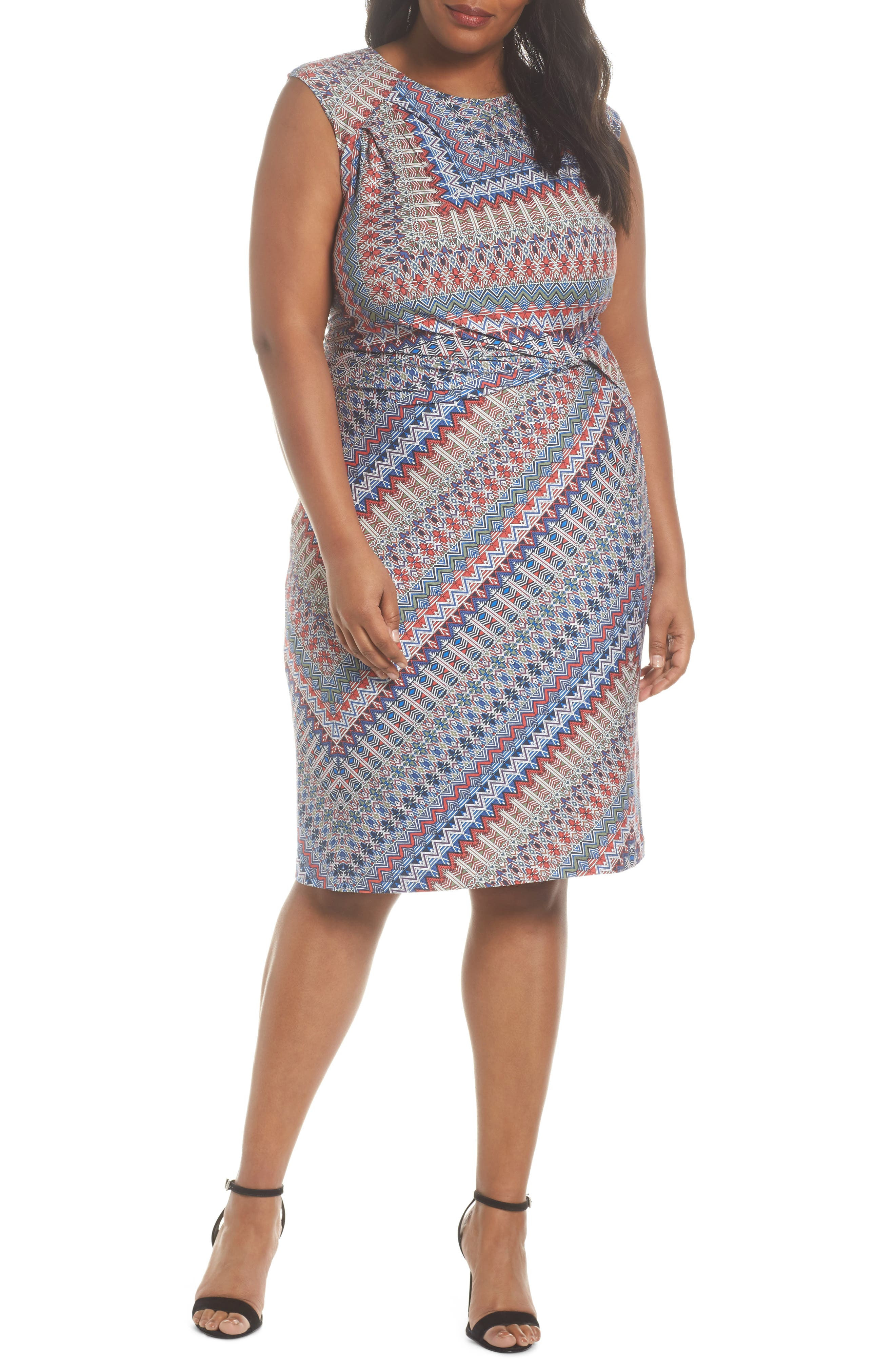 Plus Size Nic+Zoe Zigzag Twist Dress, Red