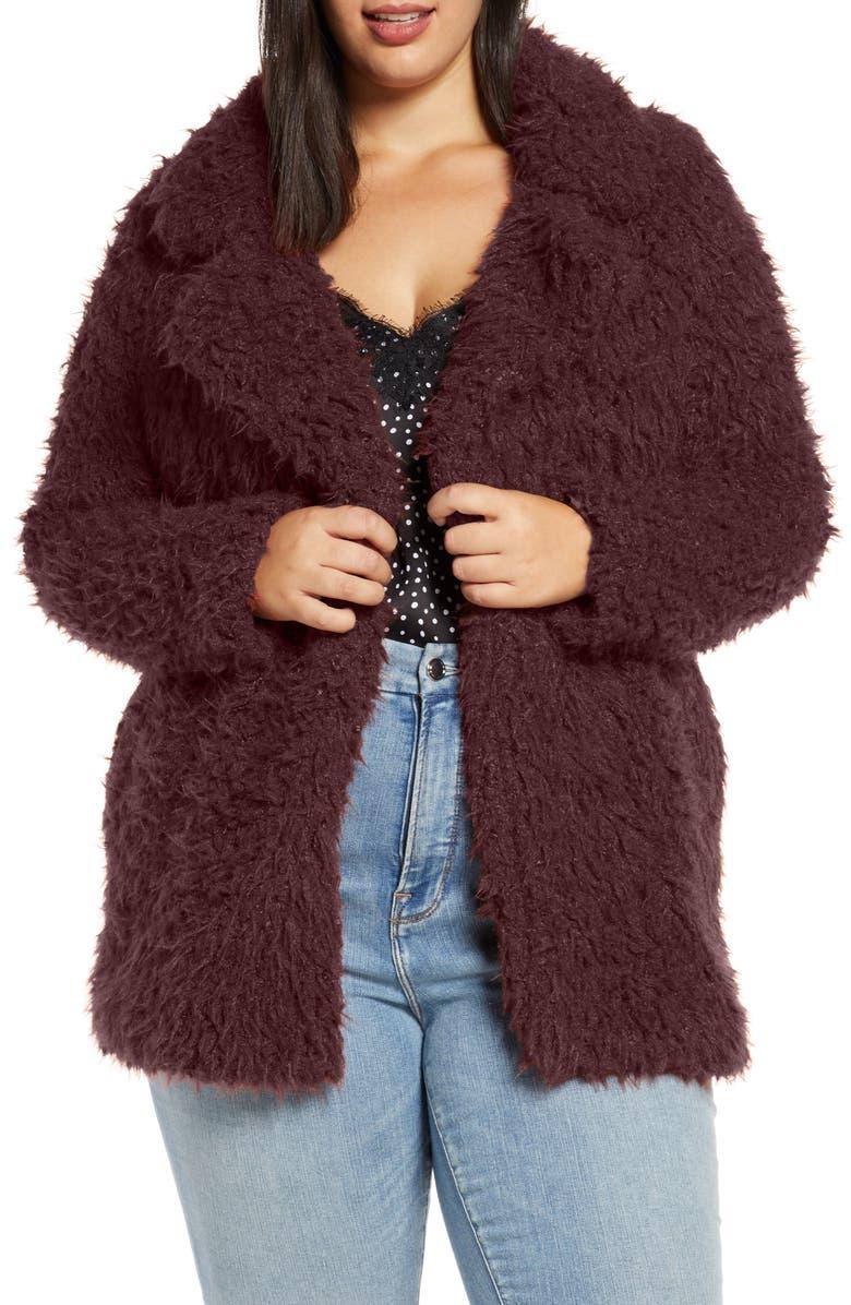 VERO MODA Faux Fur Jacket, Main, color, MADDER BROWN