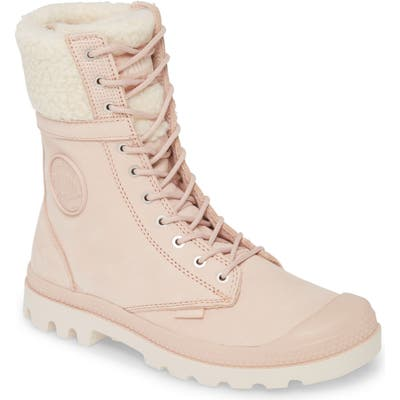 Palladium Baggy Pilot Faux Shearling Lined Boot, Pink