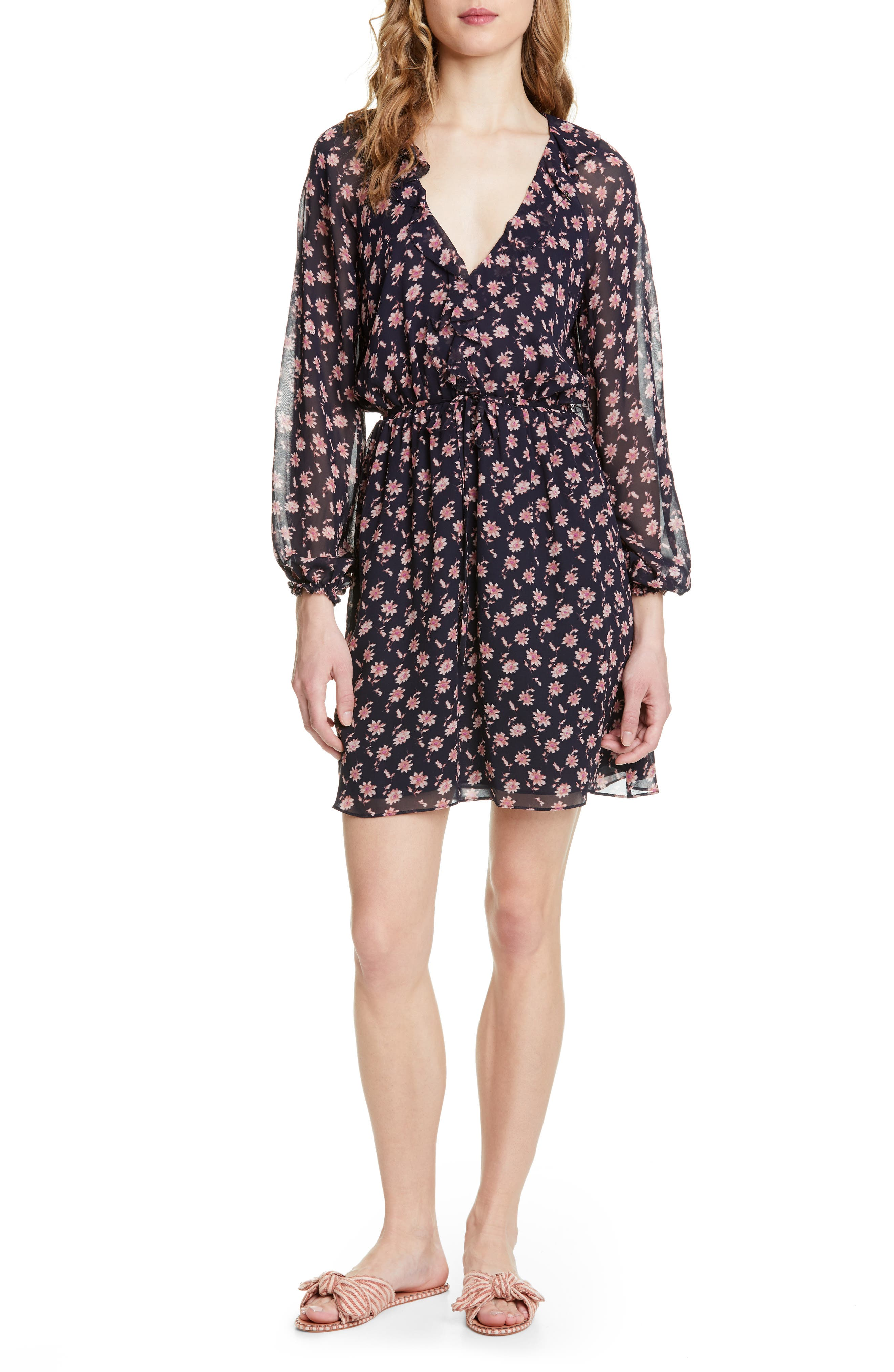 Marelle Ruffle Neck Long Sleeve Silk Dress, Main, color, MIDNIGHT