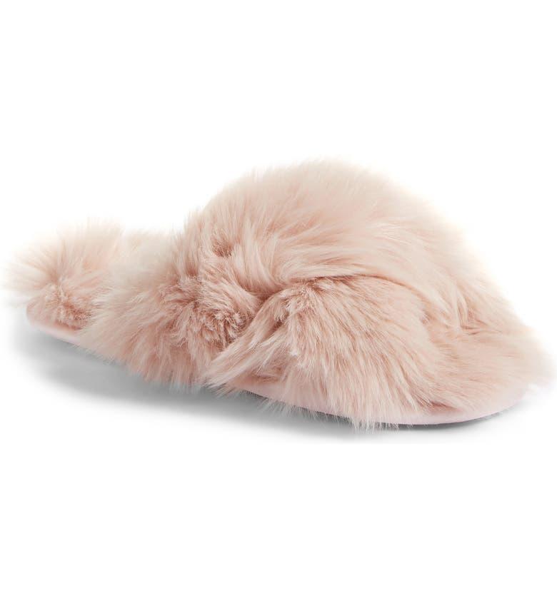 RACHEL PARCELL Faux Fur Slipper, Main, color, 680