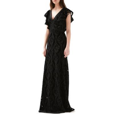 Ml Monique Lhuillier Embroidered Velvet Gown, Black