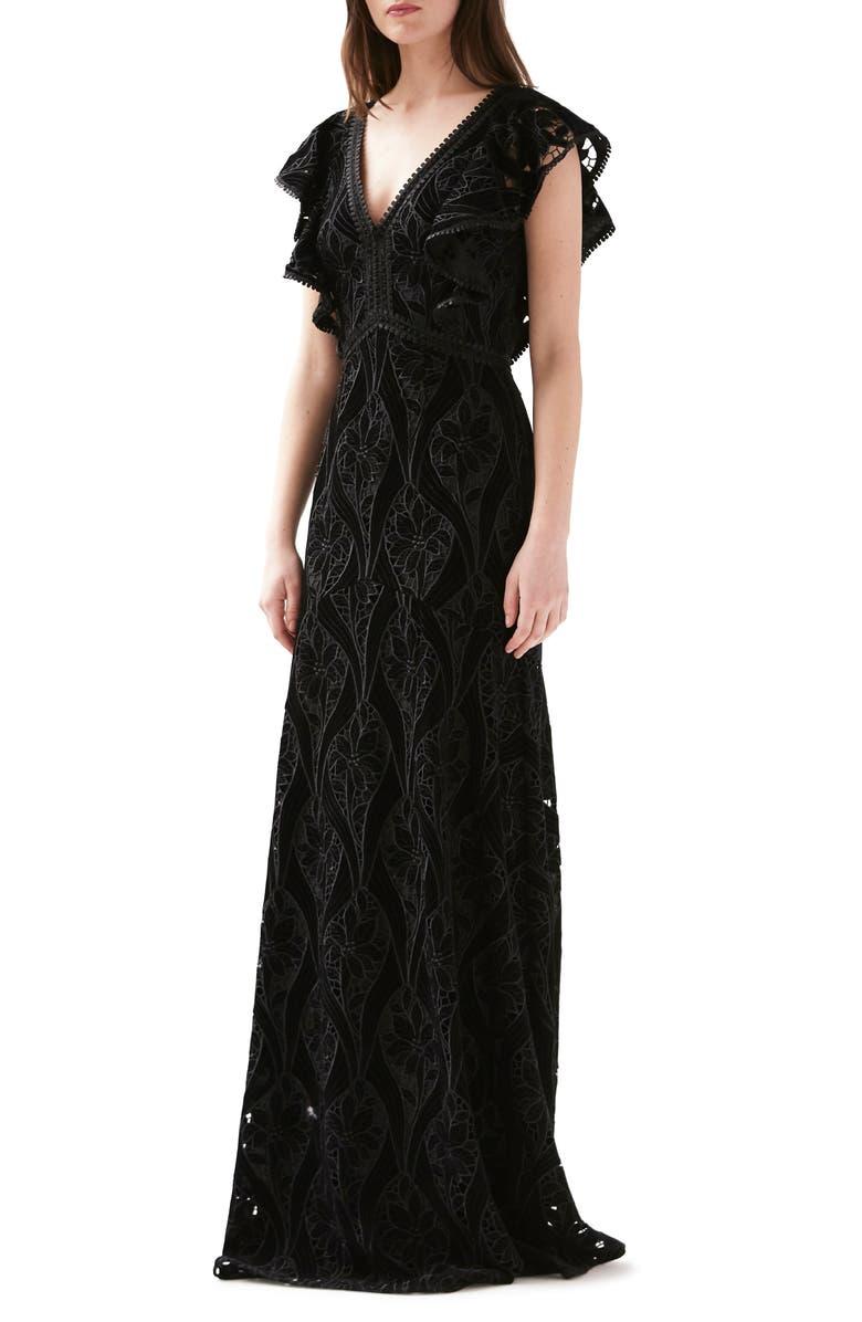 ML MONIQUE LHUILLIER Embroidered Velvet Gown, Main, color, JET