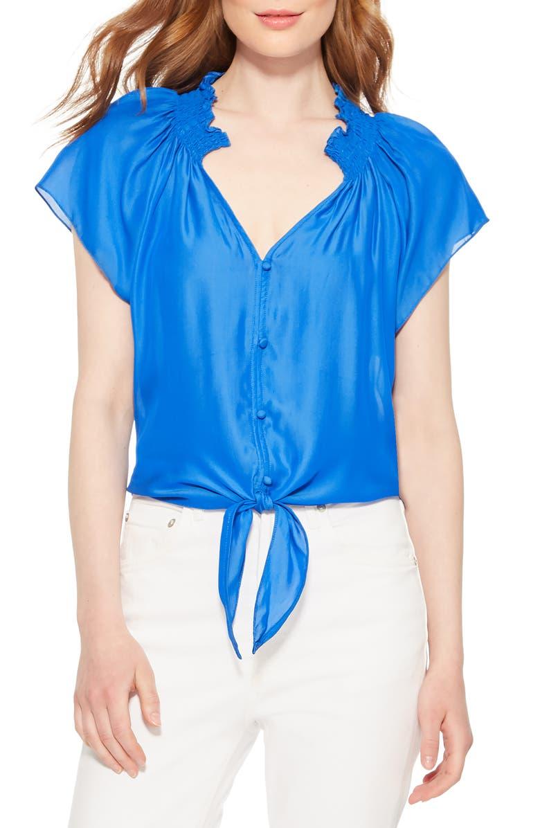 PARKER Amalia Tie Waist Top, Main, color, BLUEPRINT