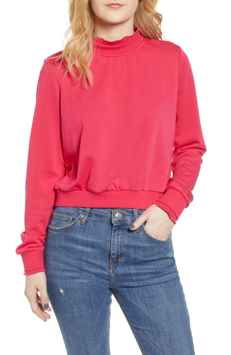 80148c47 Olivia Mock Neck Crop Sweatshirt, Main, color, LOVE POTION