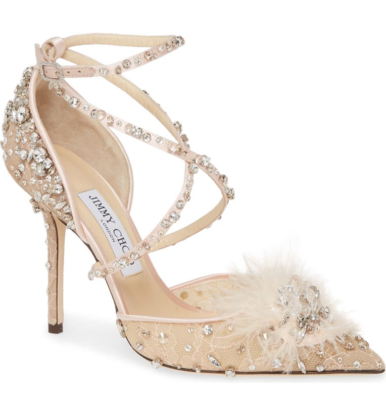 JIMMY CHOO Odette Crystal Embellished Pump, Main, color, BALLET PINK MIX