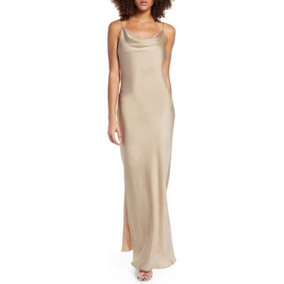 Shona Joy Cowl Neck Satin Gown