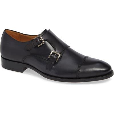 Mezlan Acosta Double Strap Cap Toe Monk Shoe, Black