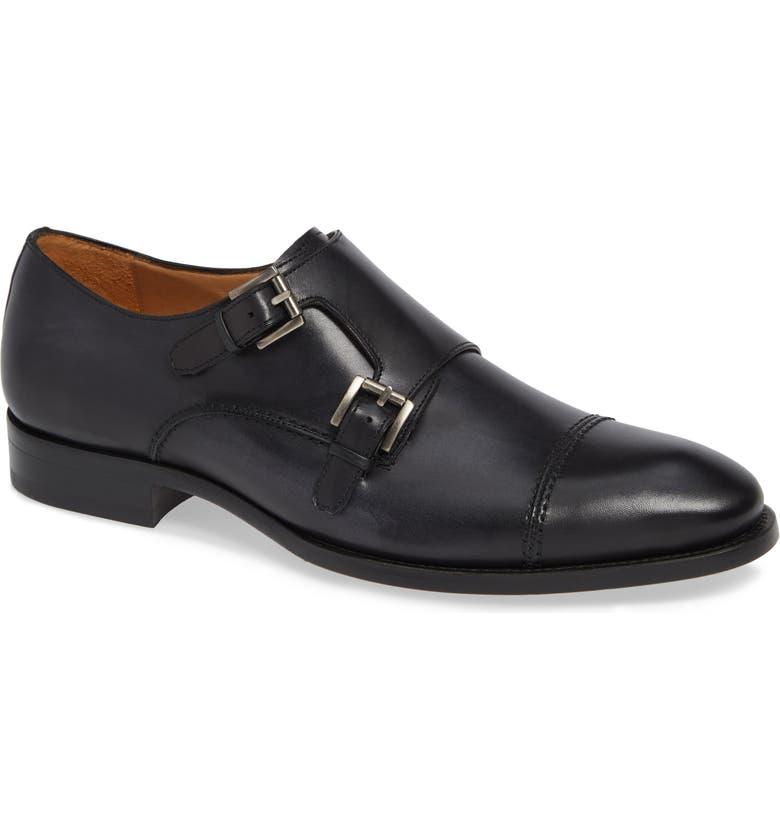 MEZLAN Acosta Double Strap Cap Toe Monk Shoe, Main, color, BLACK LEATHER