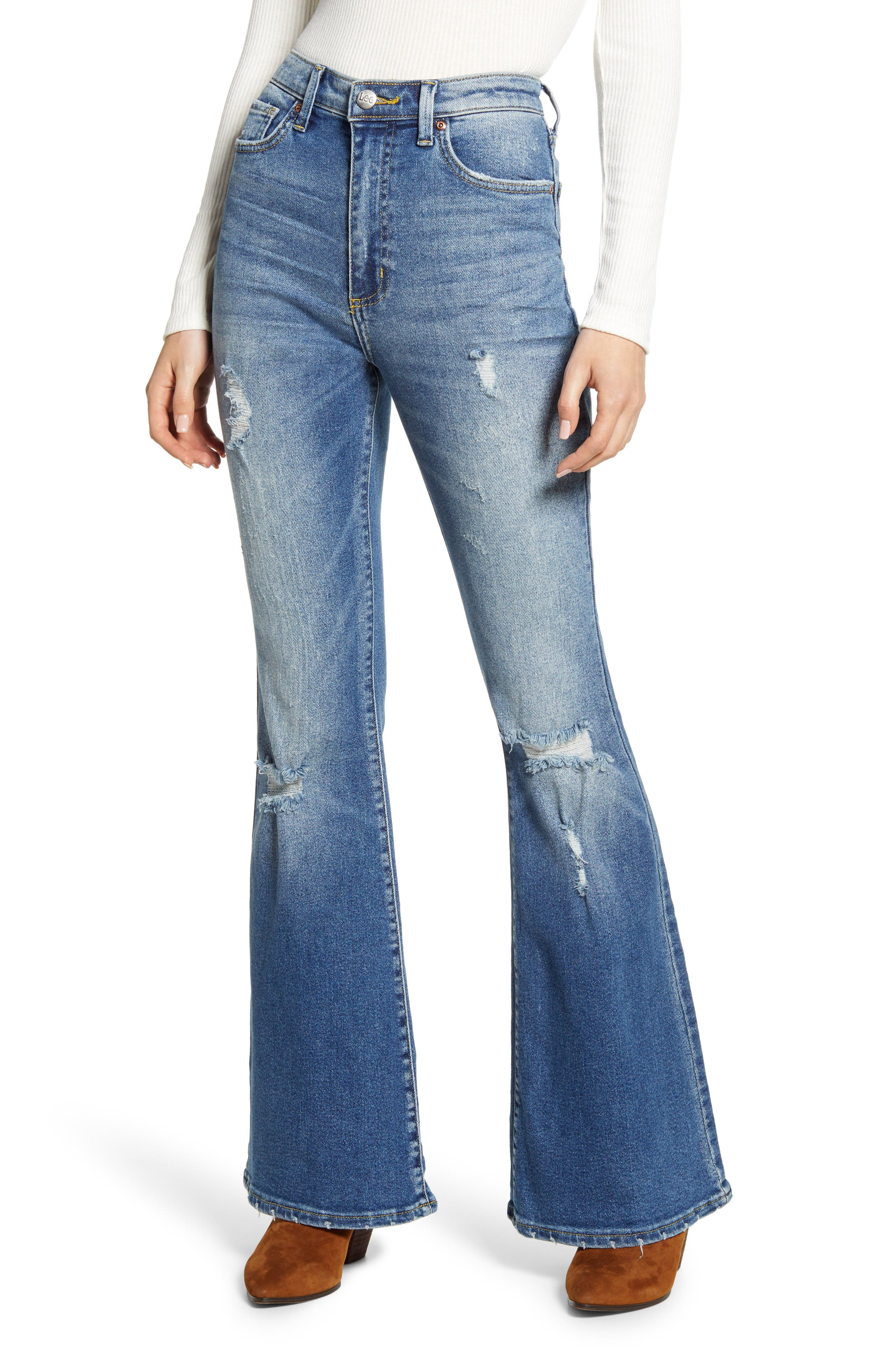 60s – 70s Pants, Jeans, Hippie, Bell Bottoms, Jumpsuits Womens Lee Distressed High Waist Flare Jeans $98.00 AT vintagedancer.com