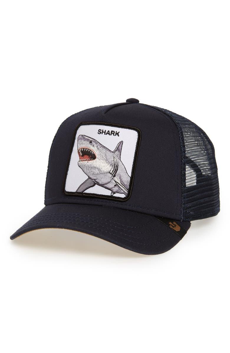 GOORIN BROS. Dunnah Shark Trucker Hat, Main, color, NAVY