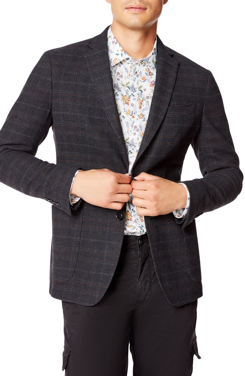 GOOD MAN BRAND Slim Fit Plaid Knit Wool Blend Sport Coat, Main, color, 001
