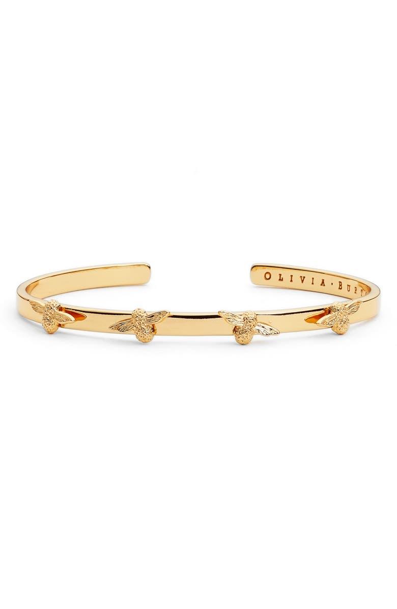 OLIVIA BURTON 3D Bee Cuff Bracelet, Main, color, GOLD