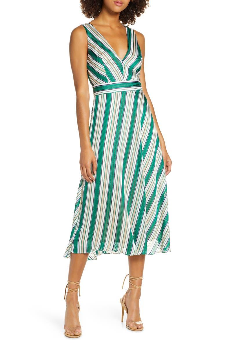 CHELSEA28 Bias Stripe V-Neck Midi Dress, Main, color, GREEN STRIPE