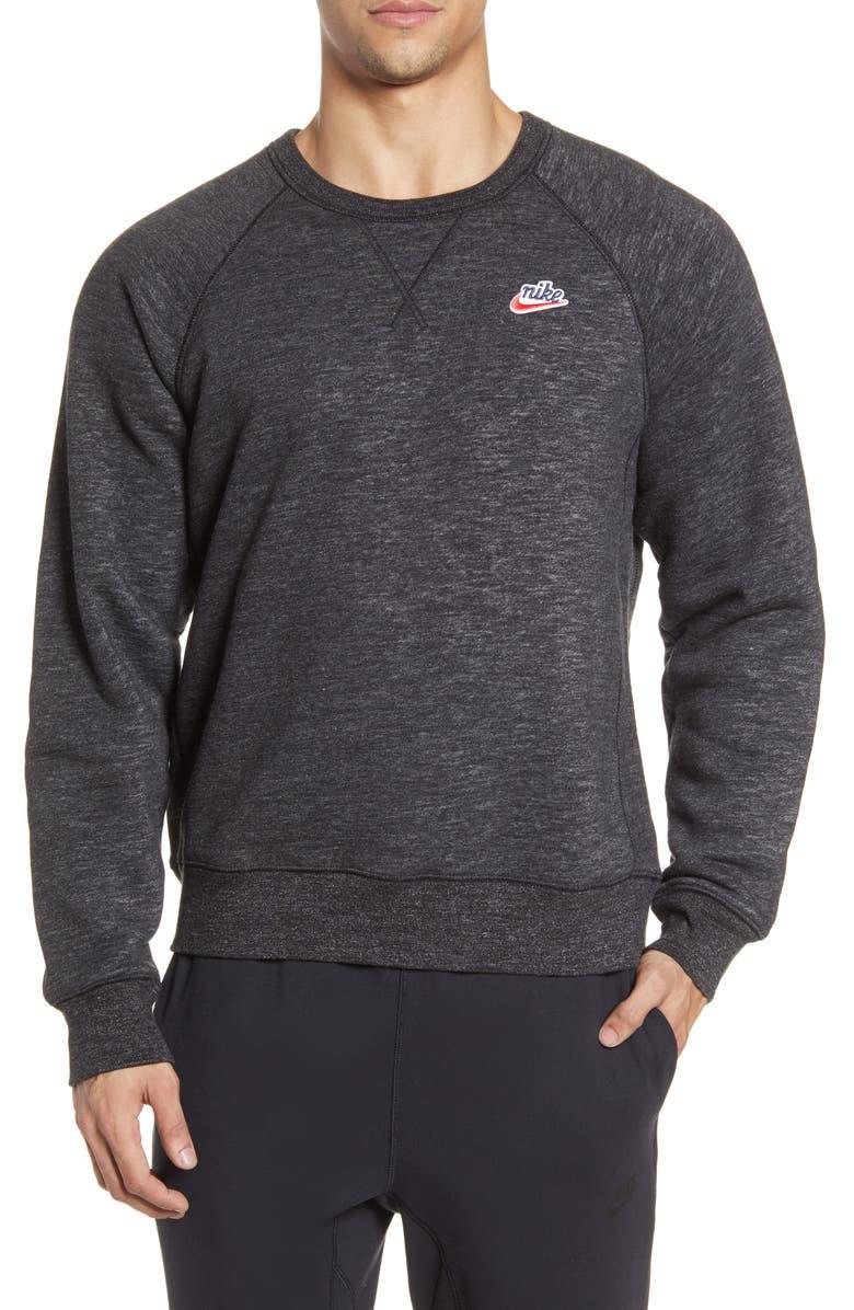 NIKE Sportswear Heritage Crewneck Sweatshirt, Main, color, BLACK/ HEATHER