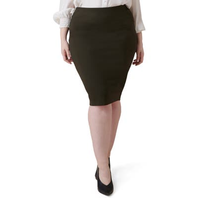 Plus Size Maree Pour Toi Compression Knit Pencil Skirt, Green