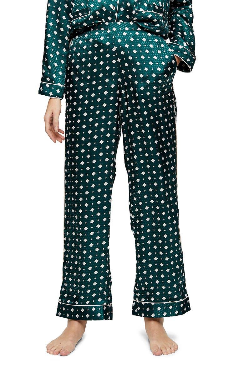 TOPSHOP Tile Jacquard Pajama Pants, Main, color, GREEN MULTI