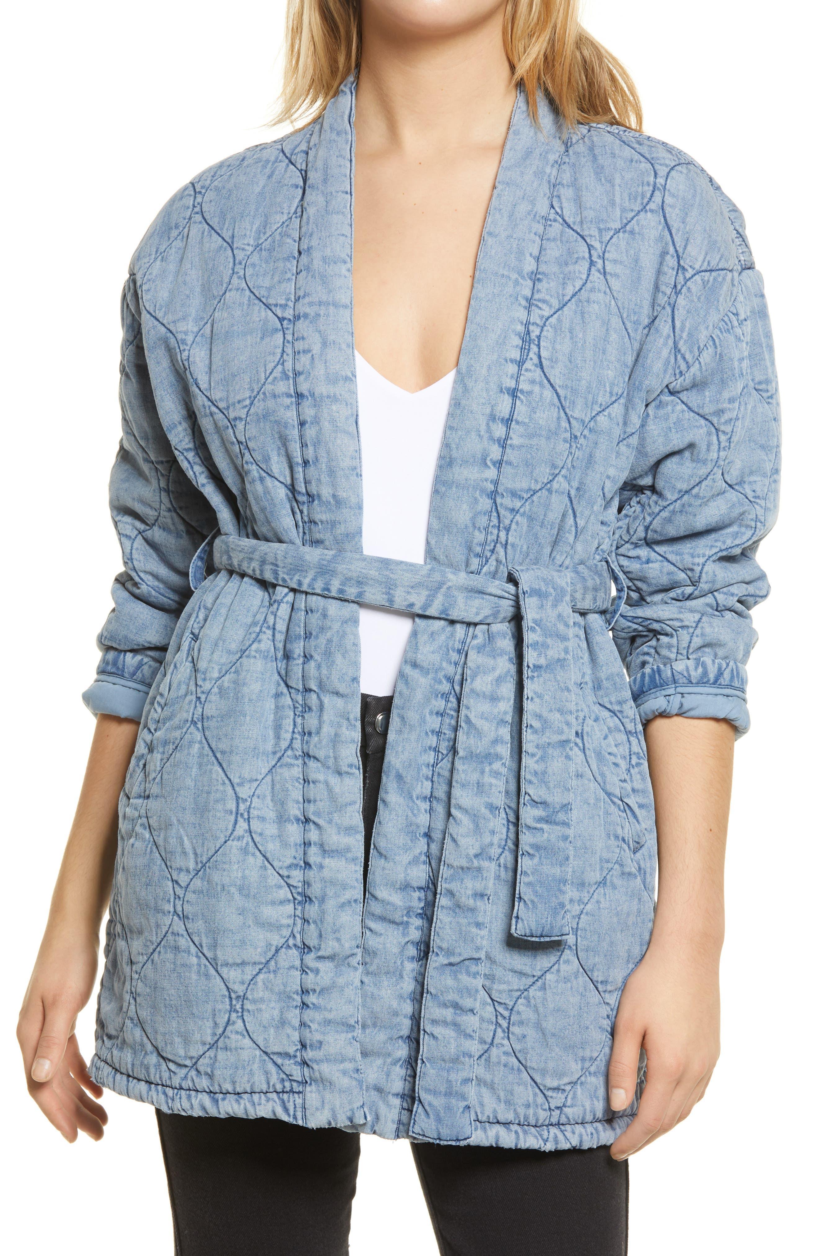 Women's Blanknyc Quilted Indigo Wrap Jacket, Size Medium - Blue