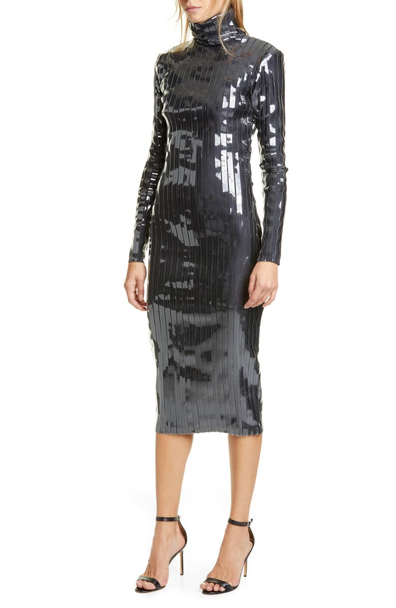 Y/PROJECT Clear Strip Turtleneck Long Sleeve Midi Dress, Main, color, 001