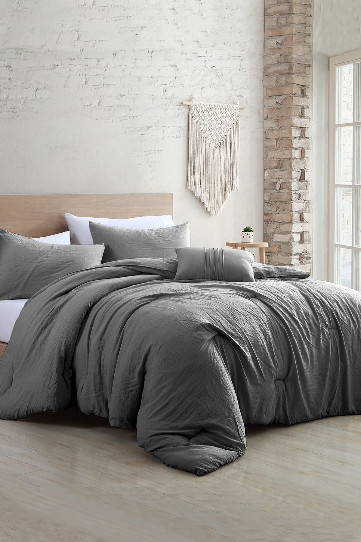 Image of Modern Threads 4-Piece Garment-Washed Comforter Set - Beck Grey - Queen