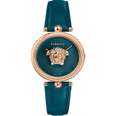 Versace Palazzo Empire Leather Strap Watch,