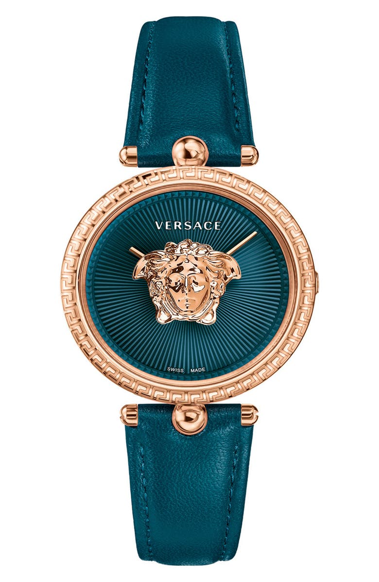 VERSACE Palazzo Empire Leather Strap Watch, 34mm, Main, color, TEAL/ ROSE GOLD
