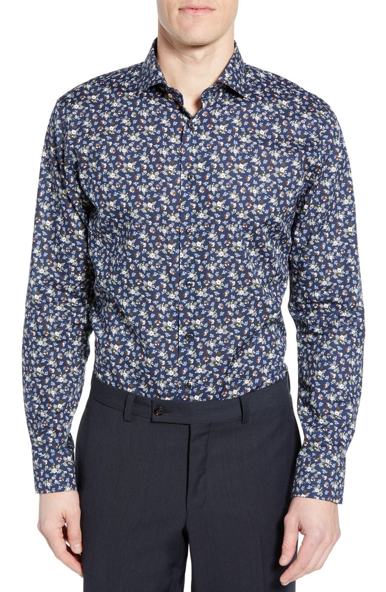 1901 Trim Fit Floral Dress Shirt, Main, color, NAVY DRESS