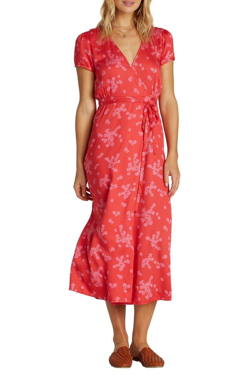 BILLABONG Right Timing Midi Wrap Dress, Main, color, FUEGO