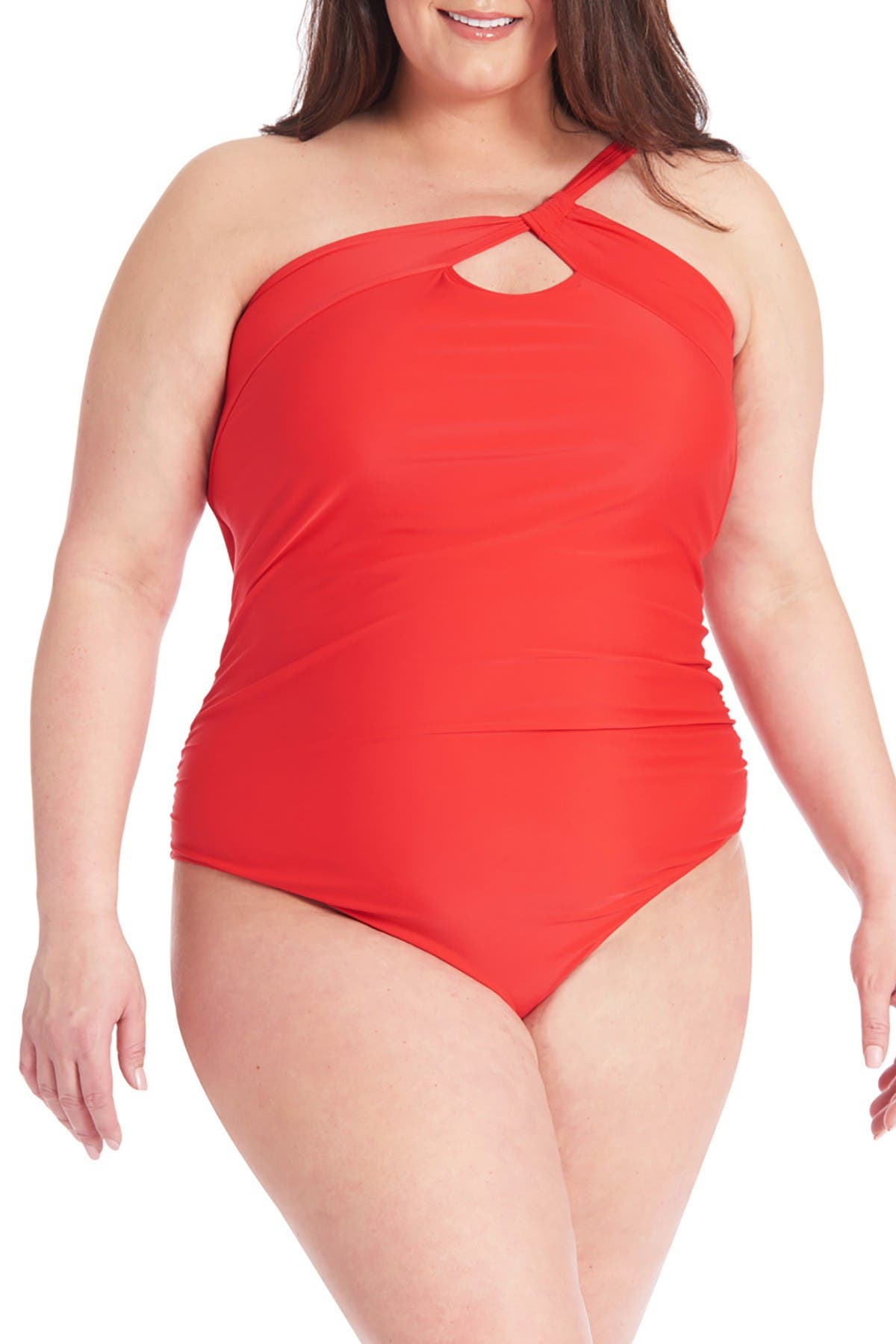 Image of Rachel Roy One-Shoulder Ruched One-Piece Swimsuit