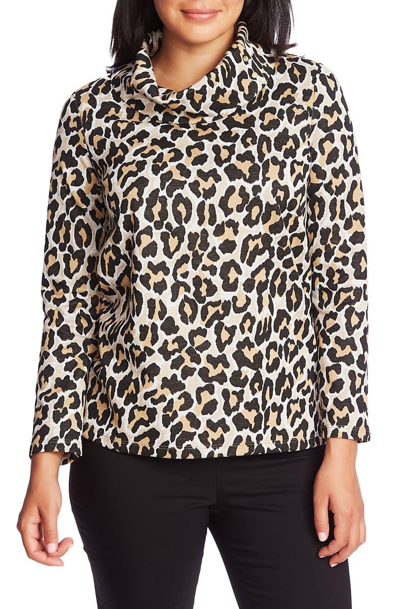 CHAUS Leopard Print Cowl Neck Cotton Blend Top, Main, color, CLASSIC GOLD