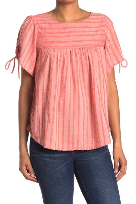 Image of MELLODAY Stripe Print Tie Sleeve Babydoll Top