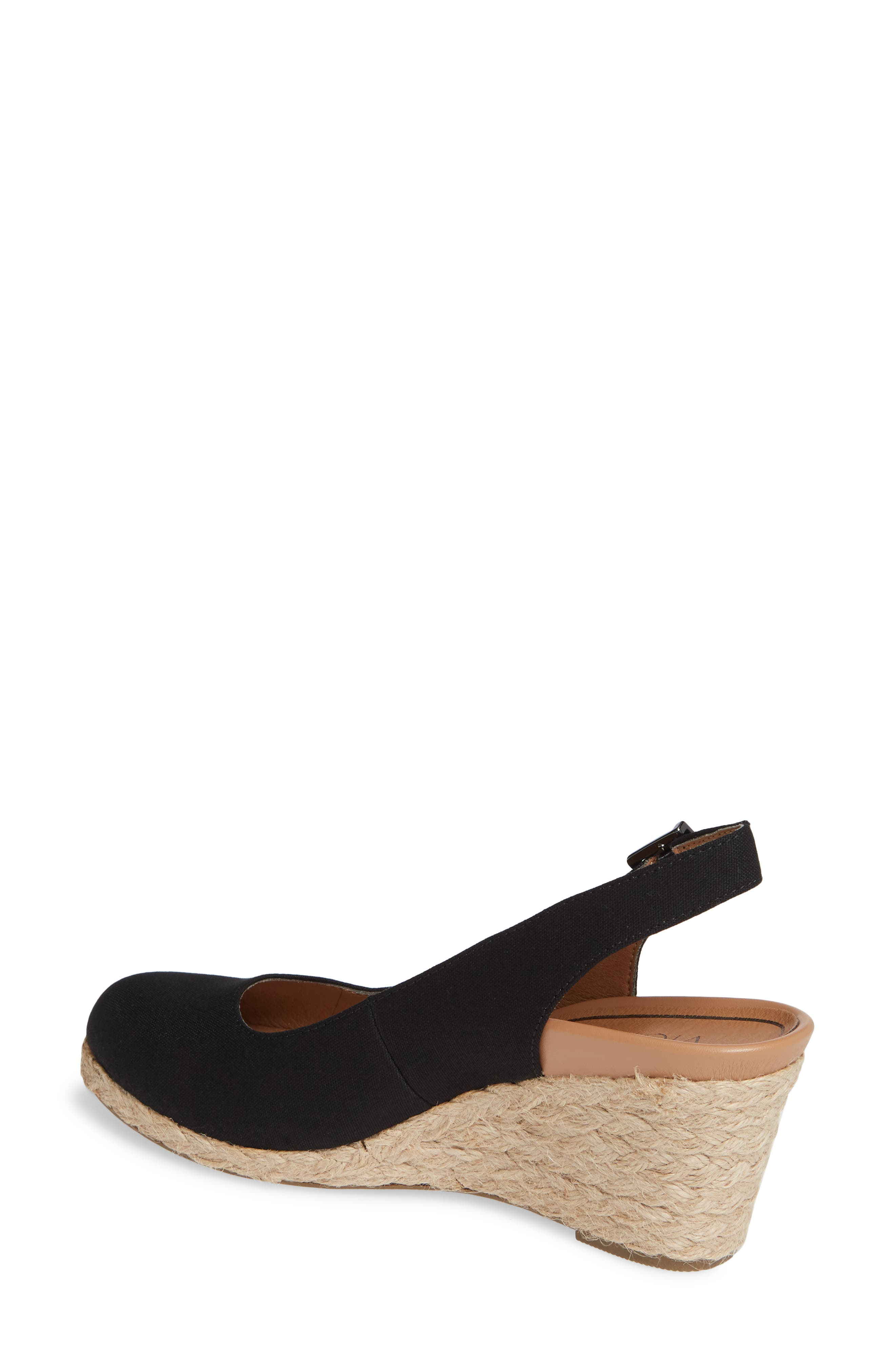 ,                             Coralina Orthaheel<sup>®</sup> Espadrille Wedge Slingback Sandal,                             Alternate thumbnail 2, color,                             BLACK CANVAS