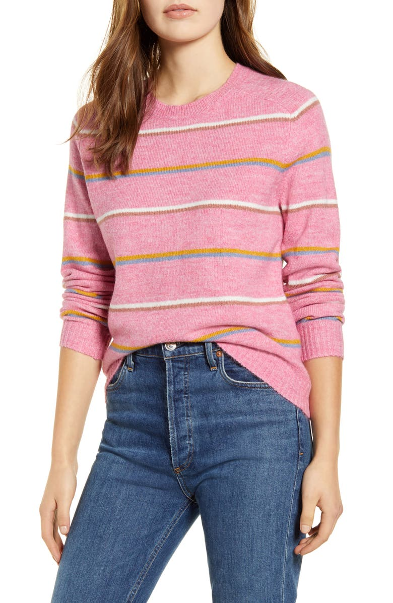 LUCKY BRAND Multistripe Crewneck Sweater, Main, color, PINK MULTI