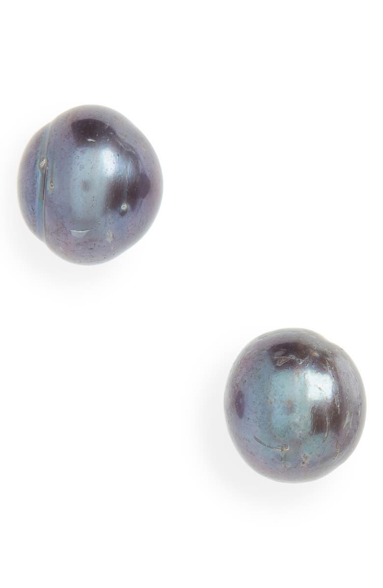LELE SADOUGHI Freshwater Pearl Stud Earrings, Main, color, GREY PEARL
