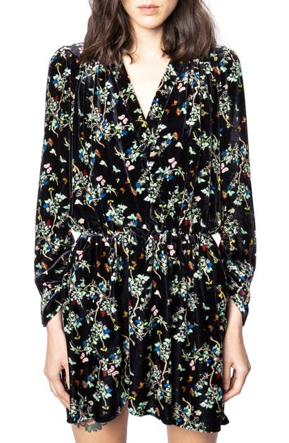 Zadig & Voltaire REVEAL FLORAL LONG SLEEVE VELVET DRESS