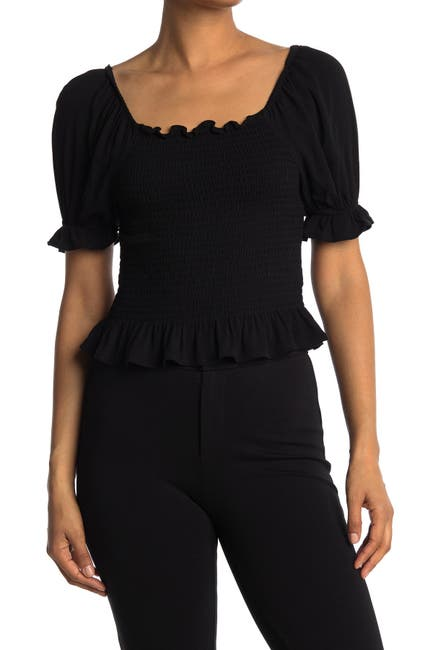 Image of Abound Smocked Puff Sleeve Top