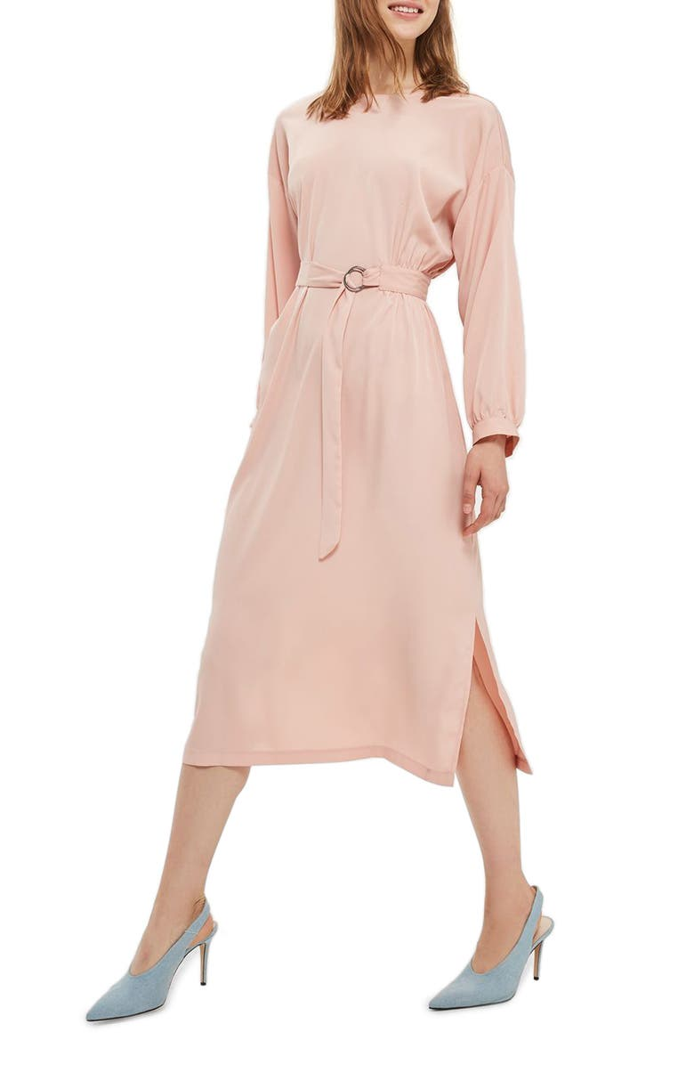 TOPSHOP Dusty Belted Midi Dress, Main, color, 250