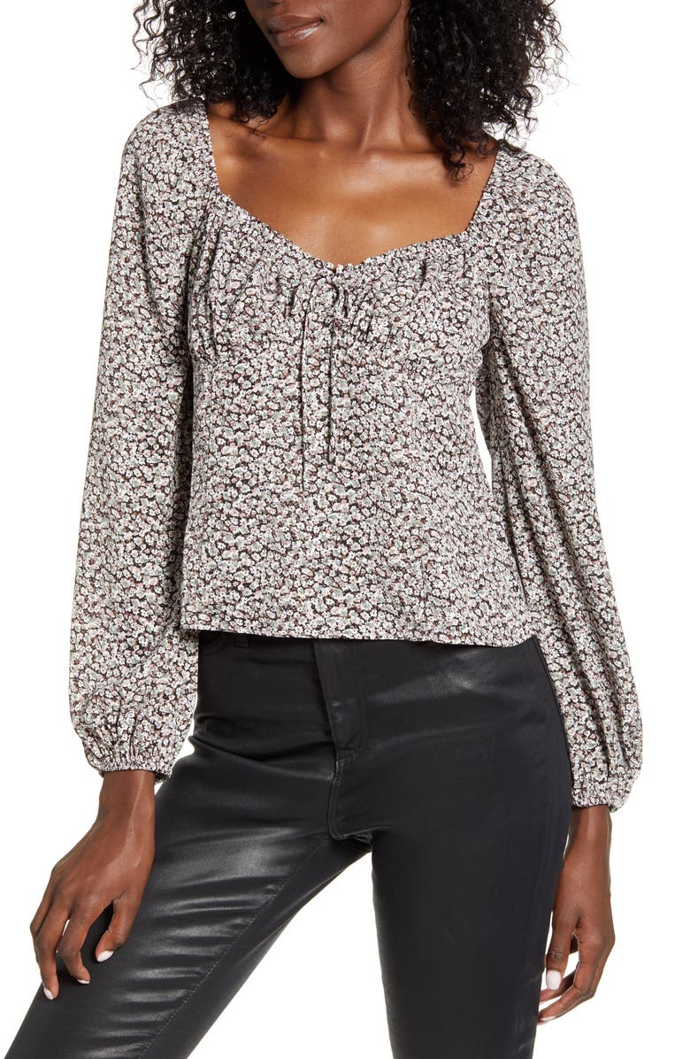 ALL IN FAVOR Sweetheart Tie Neck Top, Main, color, BLACK/ MAUVE
