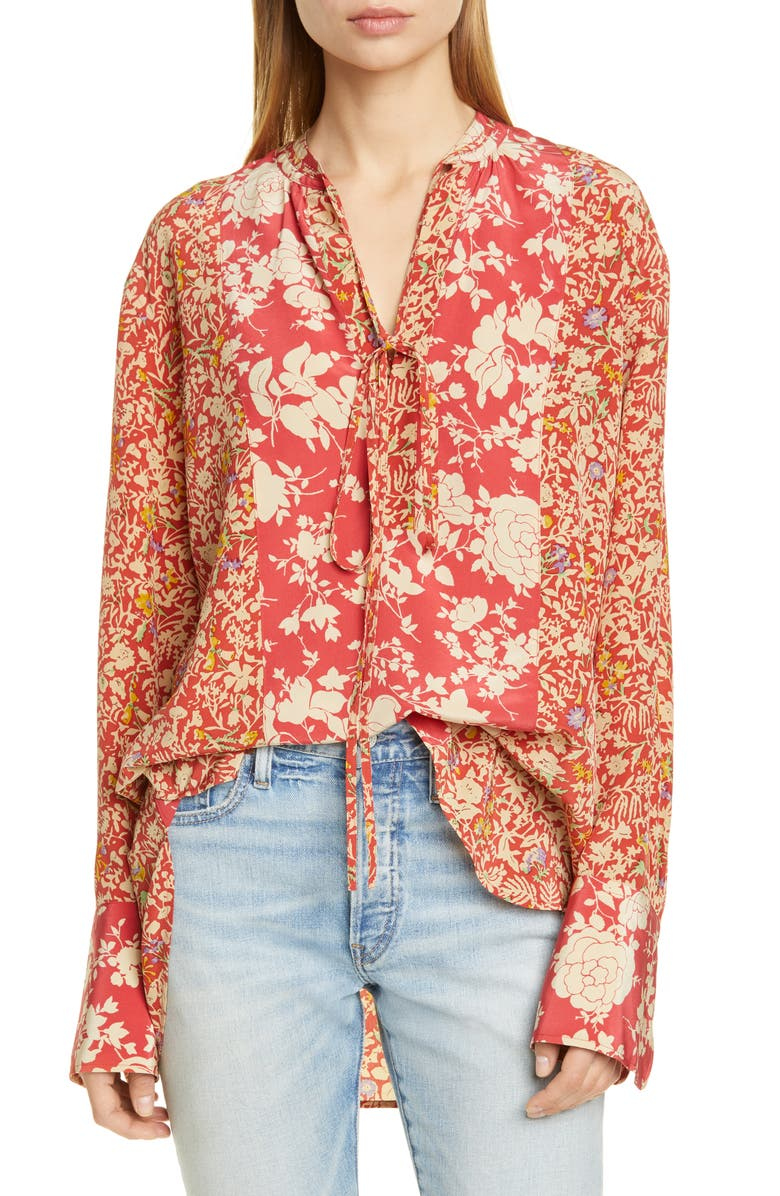 POLO RALPH LAUREN Mixed Floral Blouse, Main, color, RED FLORAL